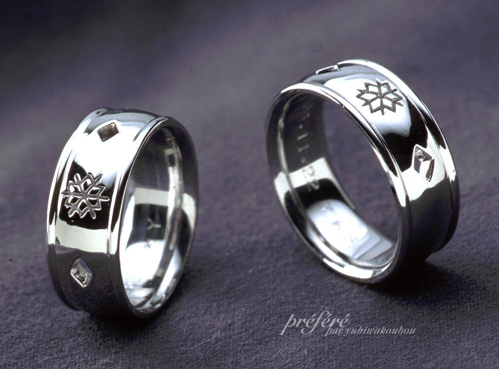 雪の結晶モチーフの結婚指輪(マリッジリング)オーダーメイド