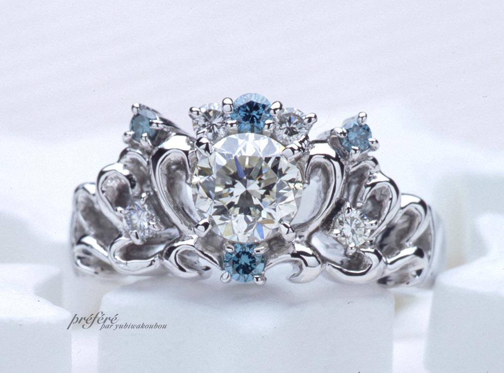 ティアラリングの婚約指輪