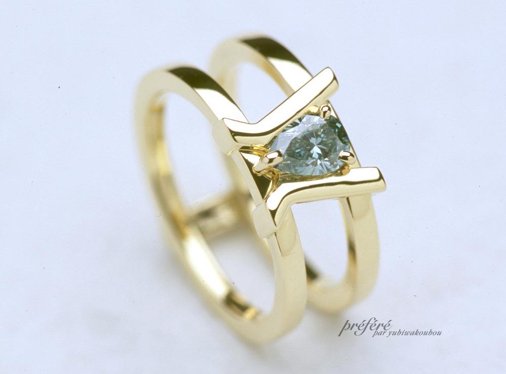 ペアシェイプダイヤの婚約指輪オーダーメイド