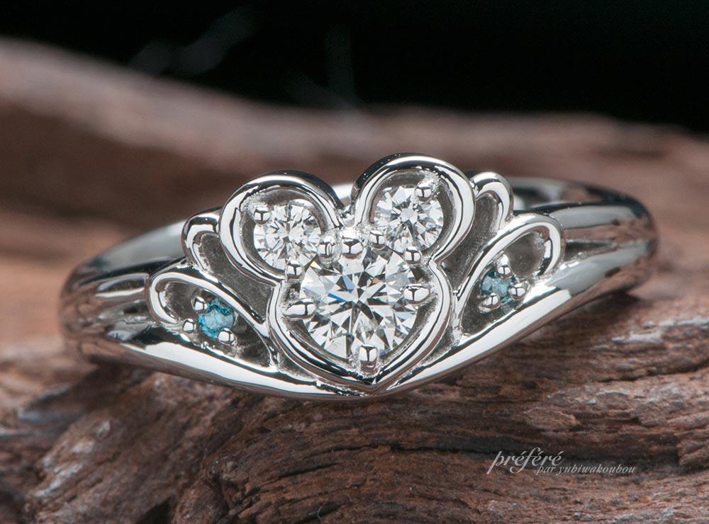 マウスモチーフのティアラ型婚約指輪をオーダーメイド(指輪No.11525)
