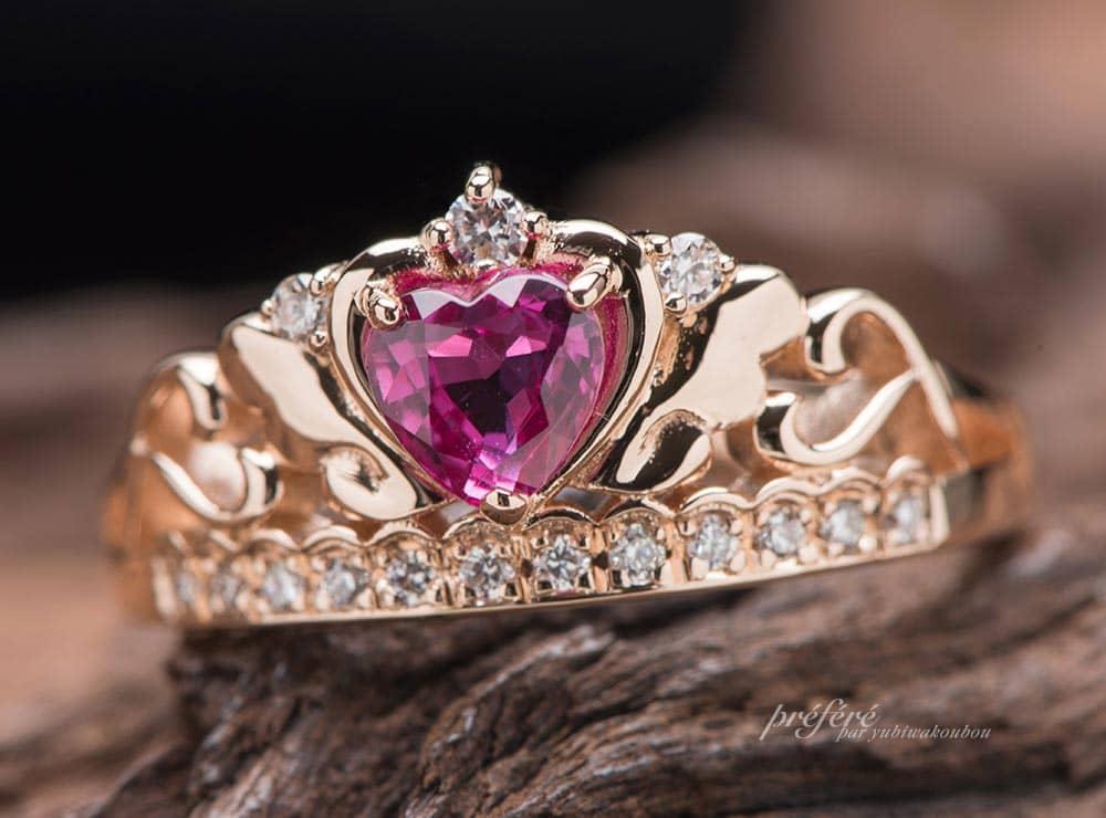 ハートルビーの婚約指輪はティアラリングでオーダーメイド(指輪No.11561)