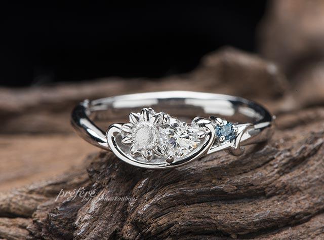 ひまわり,イニシャル,ハートダイヤ,結婚指輪