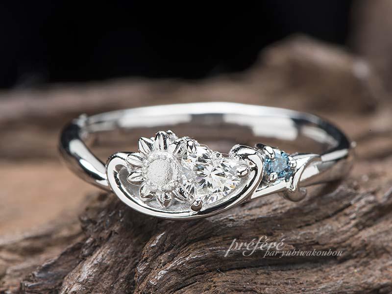 ハートダイヤの婚約指輪はひまわりでオーダーメイド