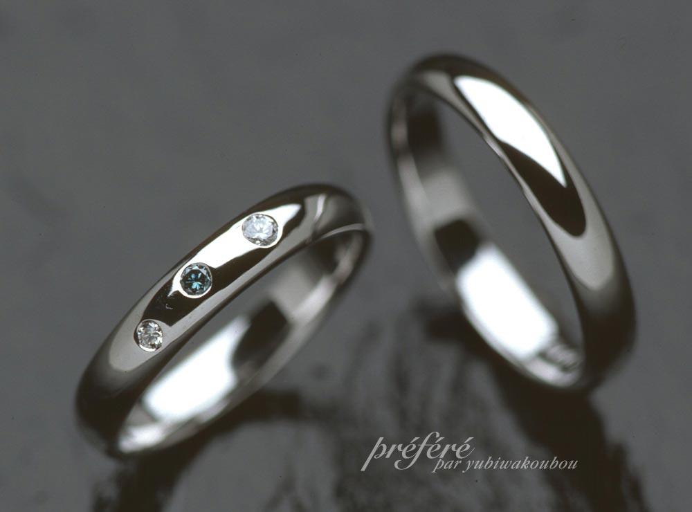 結婚指輪は、オーダーメイドでシンプルな甲丸状にダイヤを入れて
