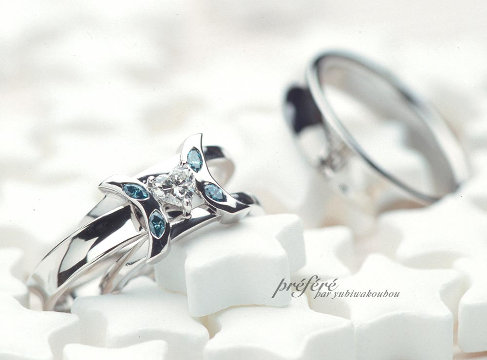 ハートダイヤの婚約指輪にセットする結婚指輪