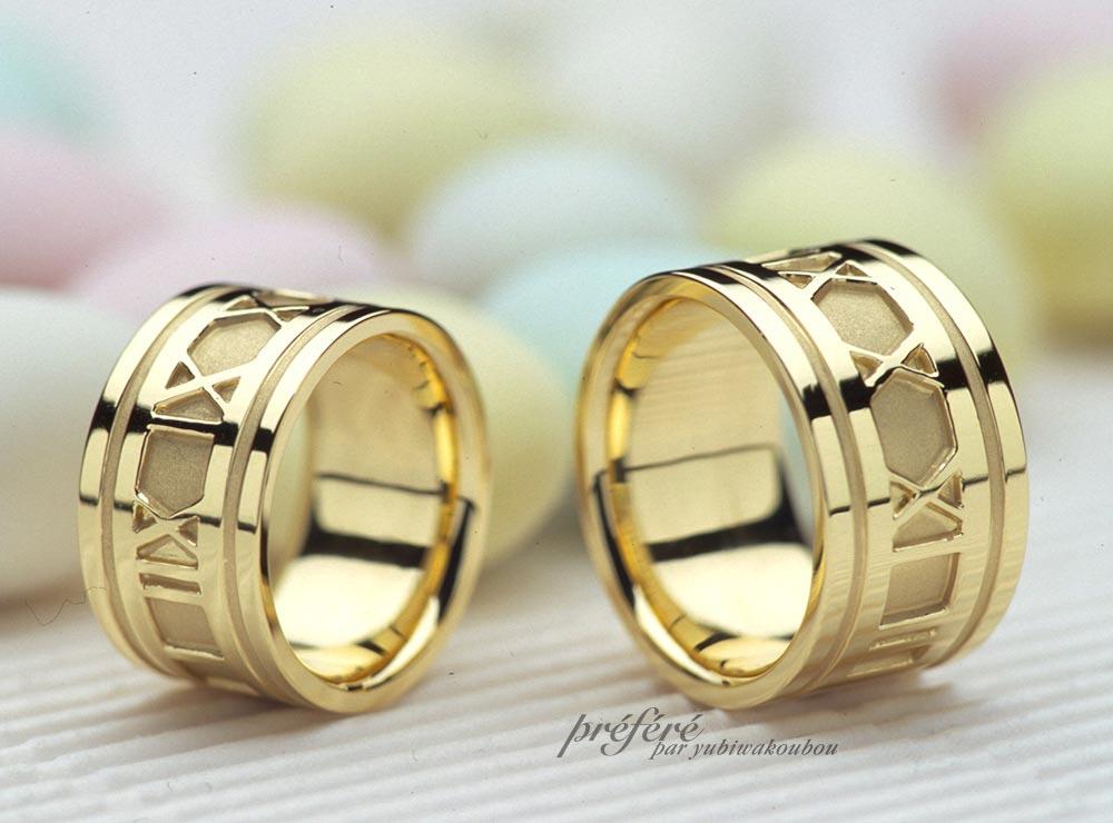 結婚指輪はローマ数字の記念日