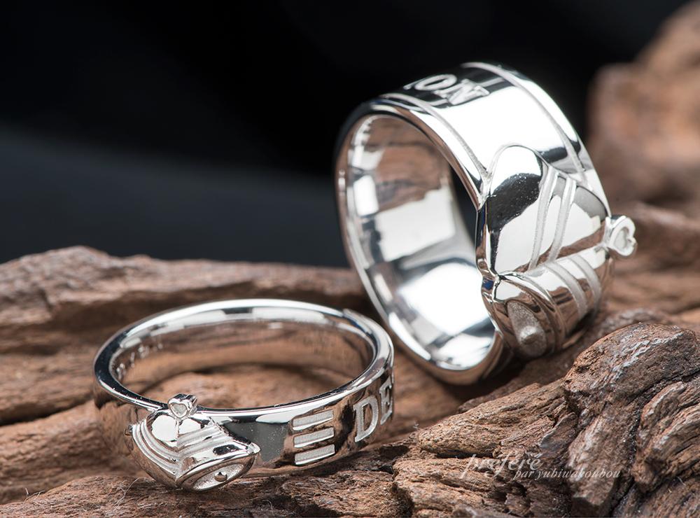 結婚指輪のオーダーはベル(鐘)モチーフデザインでお作りしました(指輪No.11717)