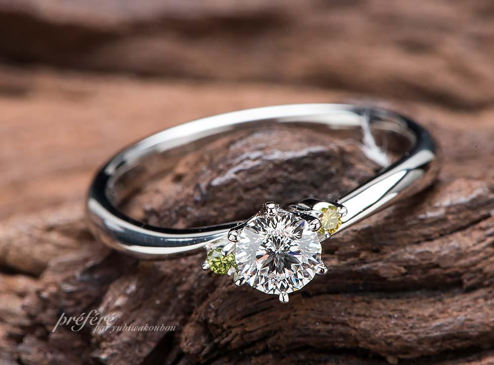 ひまわりカットのダイヤモンドを婚約指輪にリフォーム