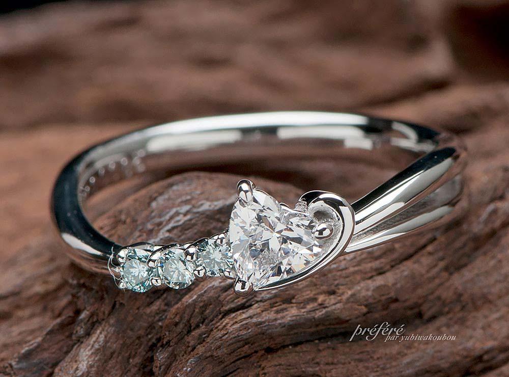 流れ星の婚約指輪はオーダーメイドのデザイン(指輪No.9046)