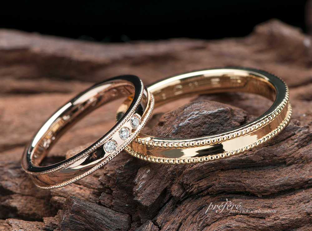 ゴールドのリングにミル打ちを入れた結婚指輪のオーダー