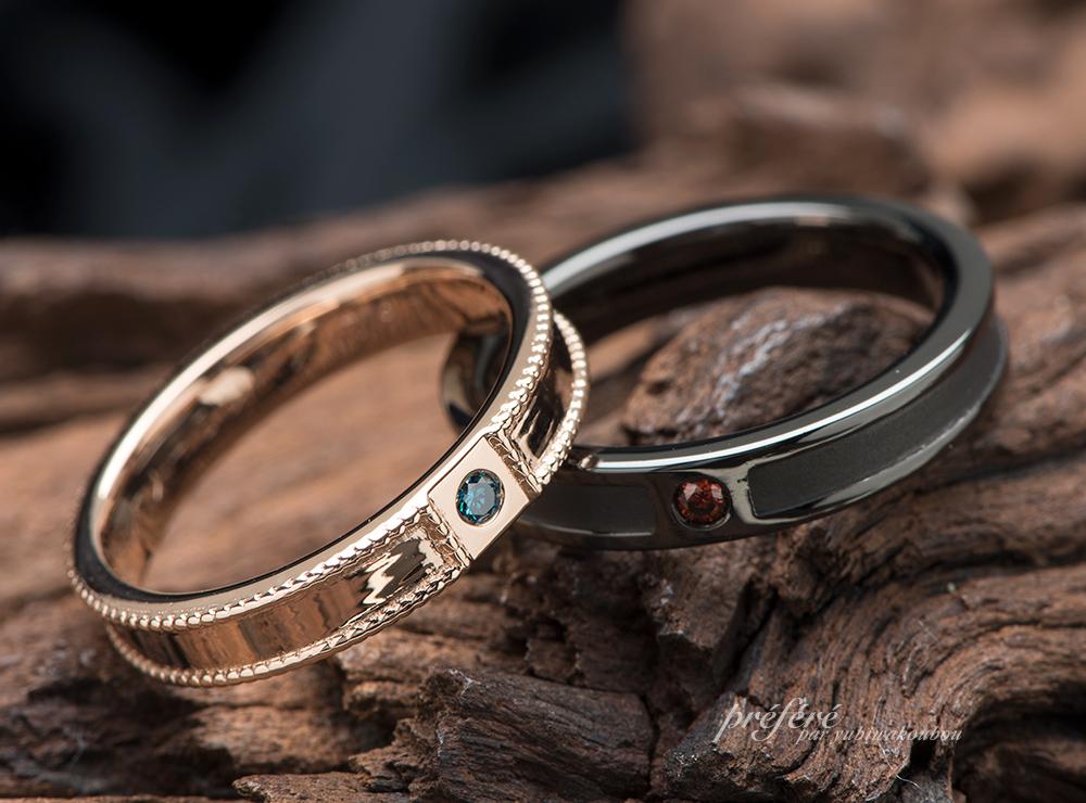 ピンクゴールド&ブラックリングの結婚指輪のオーダーメイド