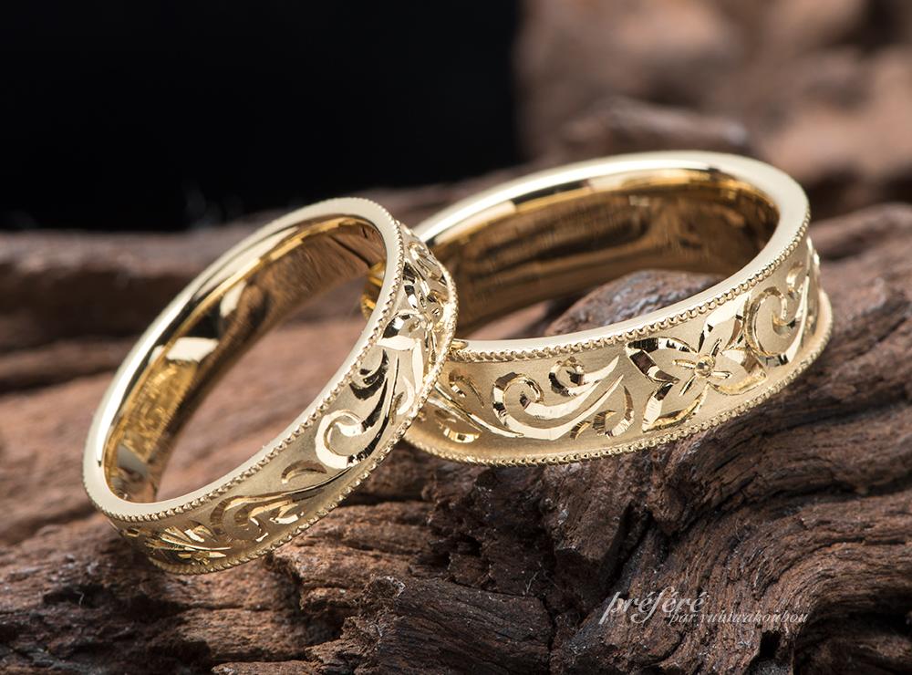 ハワイアンジュエリー調デザインの結婚指輪