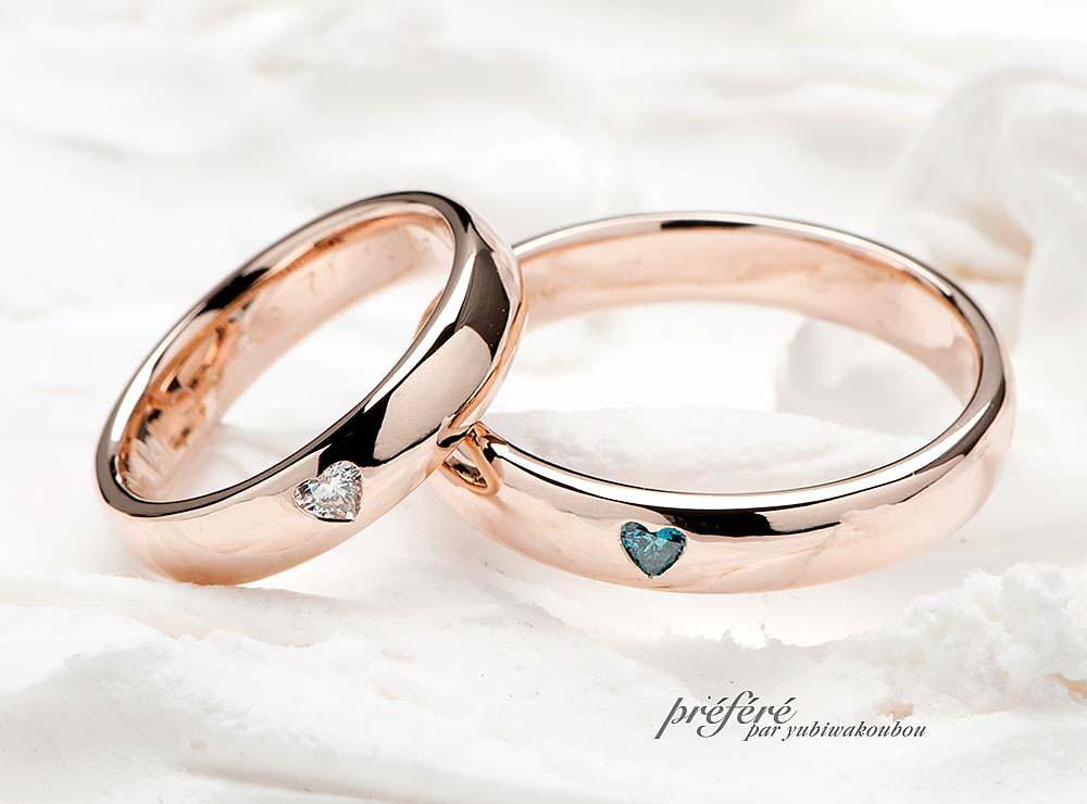 シンプルの中にこだわりのある 粋でキュートなオーダーメイドの結婚指輪(指輪No.1769)