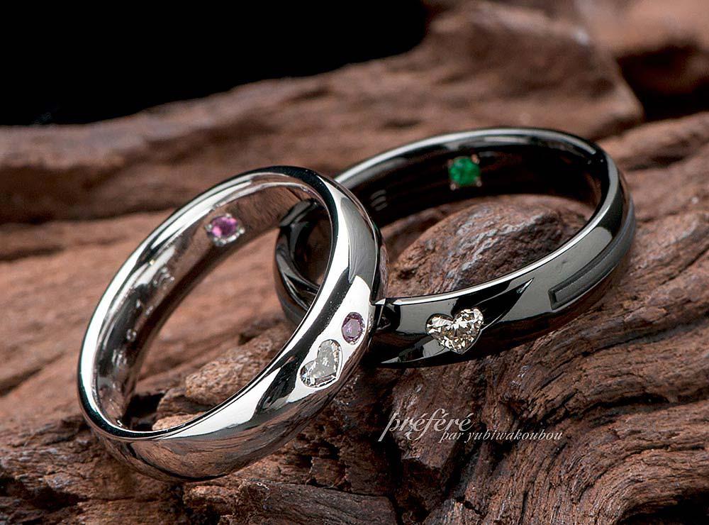 結婚指輪はオーダーメイドでブラック&ハートダイヤのおしゃれなデザイン(指輪No.3882)