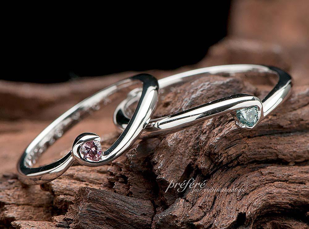 結婚指輪はオーダーメイドで 人気のハートダイヤでお創りしました(指輪No.2860)