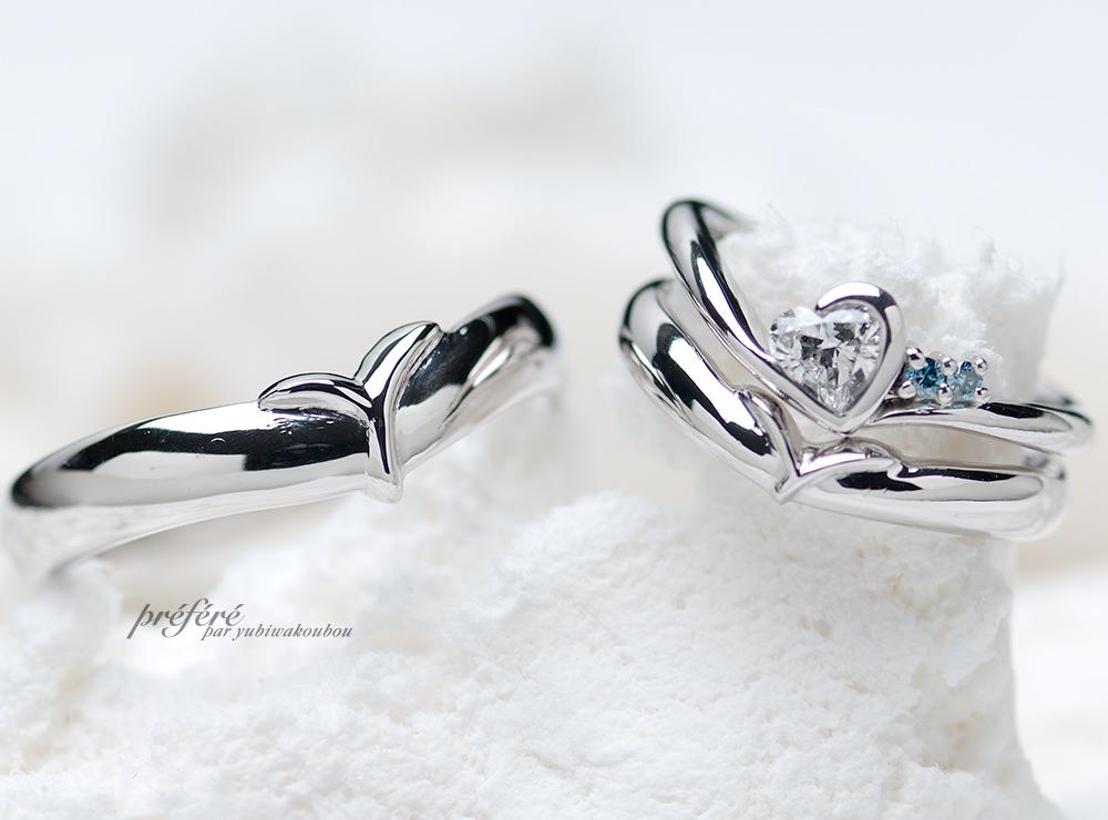 結婚指輪&婚約指輪の重ねつけリング