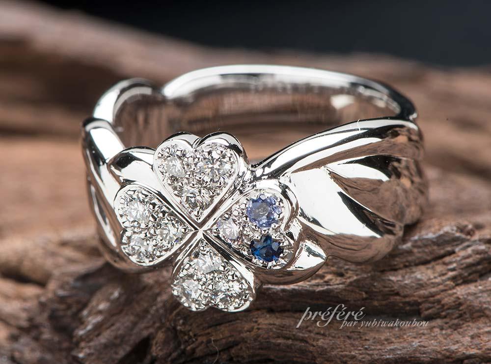 結婚15周年記念の指輪は幸せ四つ葉のクローバと天使の羽根モチーフでオーダーメイド