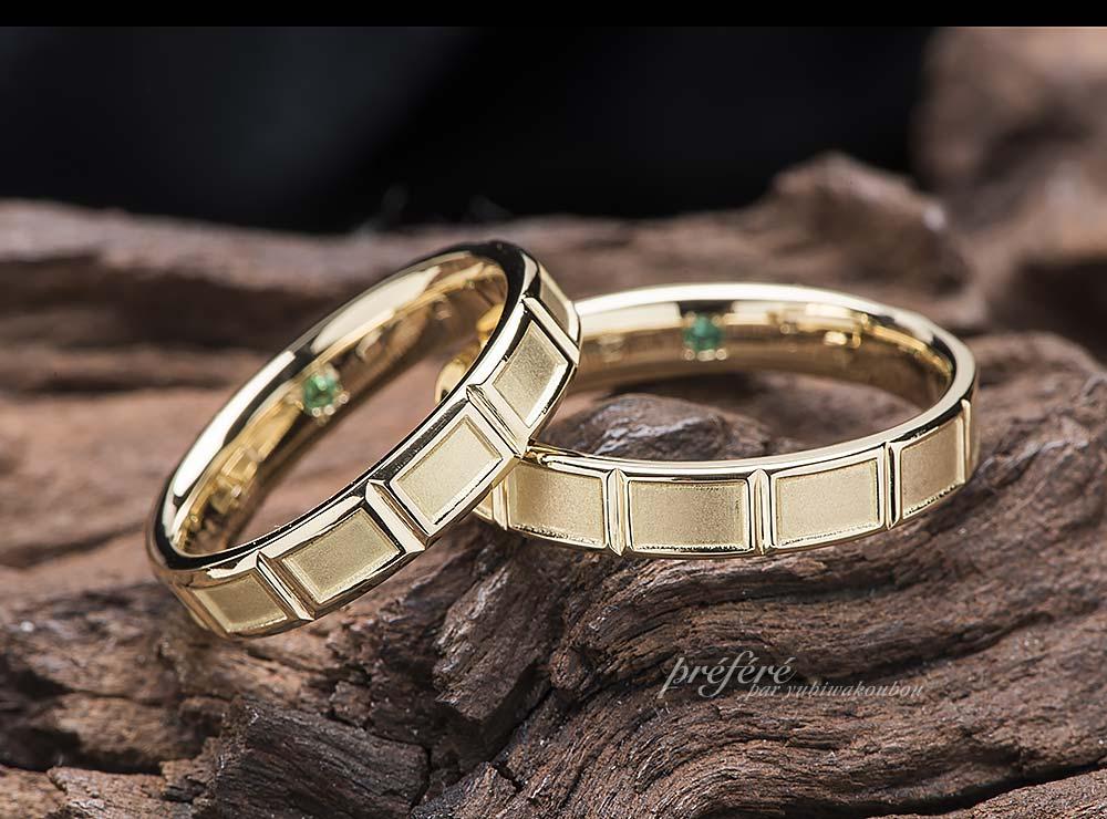 チョコレートモチーフの結婚指輪は18金ゴールド