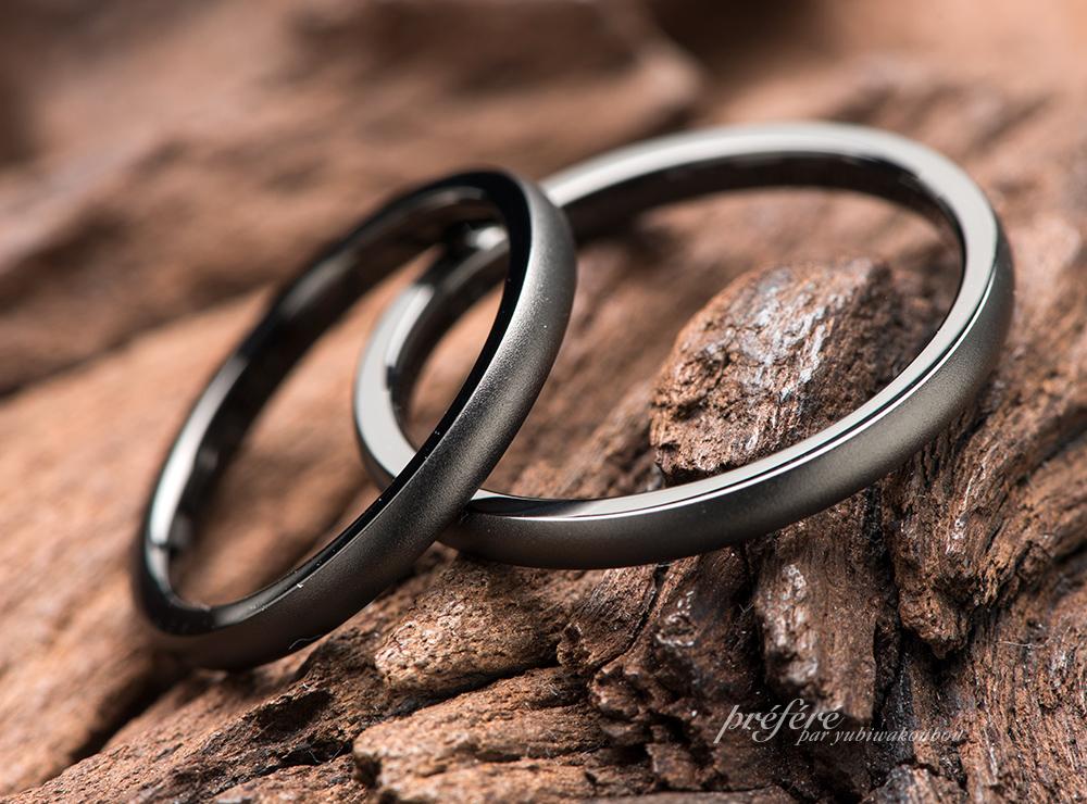 結婚指輪を渋いブラックリングでオーダーメイド