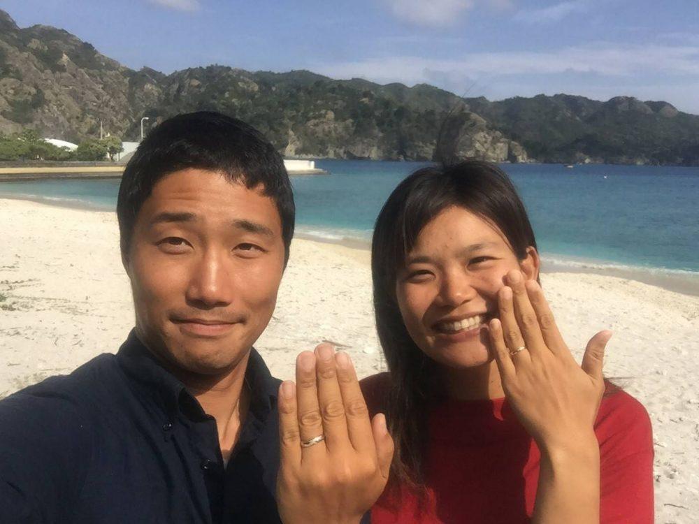 クジラモチーフの結婚指輪をお創りした二人