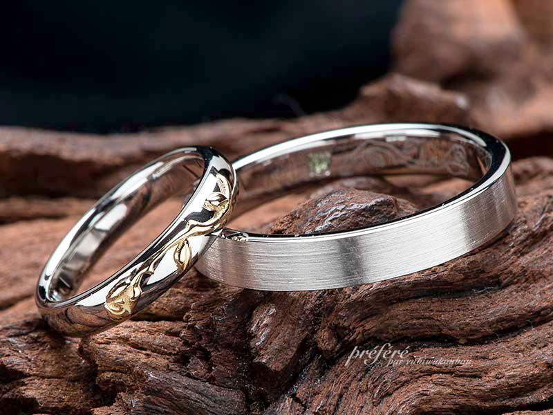 薔薇モチーフの結婚指輪