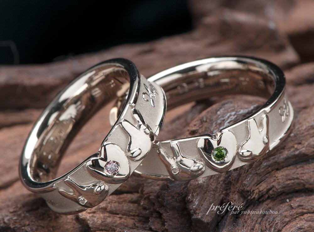 リサガスのようなウサギモチーフの結婚指輪