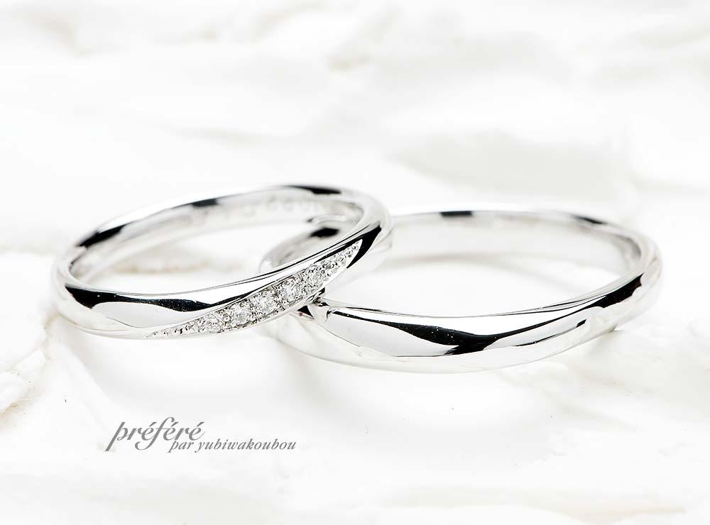 シンプルで華奢な結婚指輪