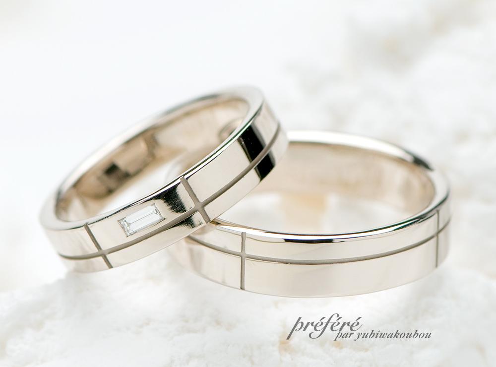 バケットダイヤを配置した結婚指輪