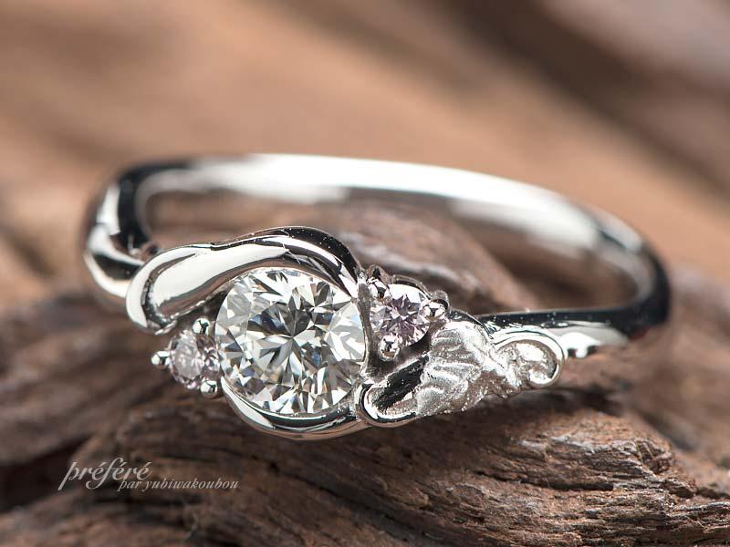 ブドウの葉を入れた婚約指輪をオーダーでお創りしました。(指輪No.12514)