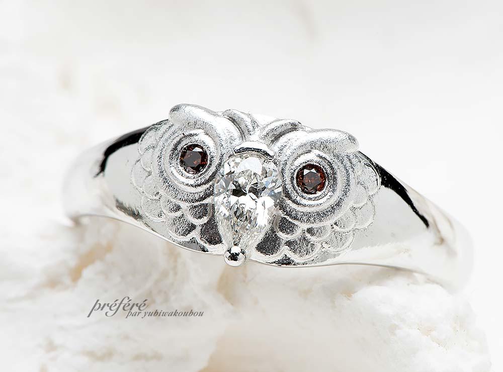 フクロウモチーフの婚約指輪をオーダーメイド(指輪NO.12303)