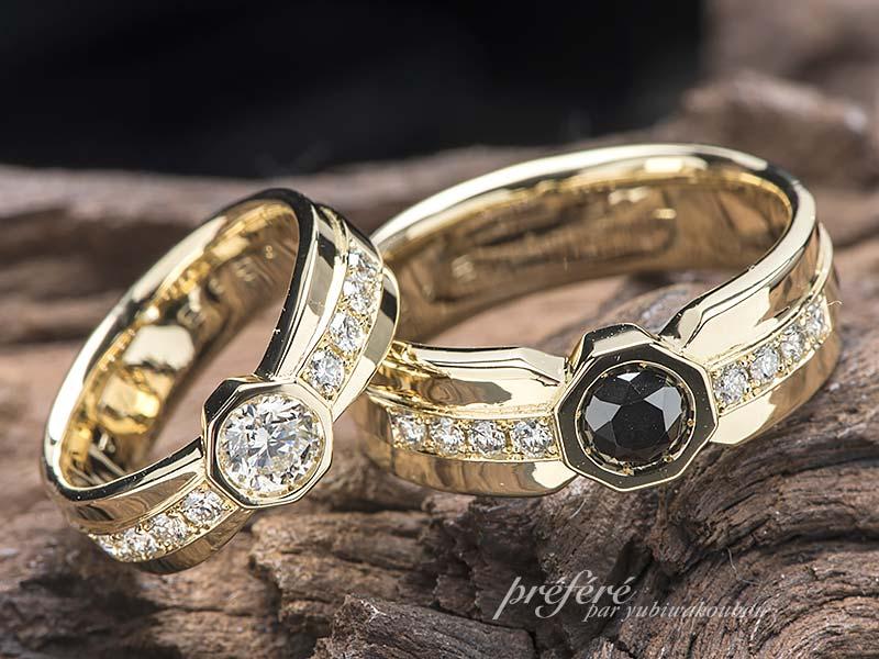 8角形にブラックダイヤを入れた結婚指輪はオーダーメイド(No.12445)
