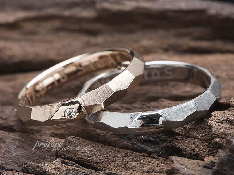 ハートと桜をシークレットにアレンジした結婚指輪