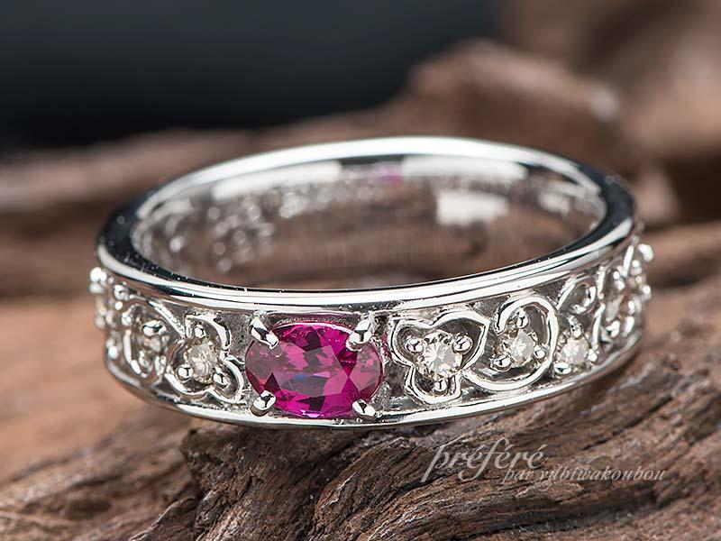 ルビーで結婚10周年の記念に指輪をリフォーム(指輪No.12383)