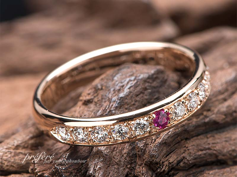結婚10周年に贈るスイートテンリングはオーダーでルビーとダイヤでお作りしました(指輪No.12404)