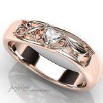 ハートのダイヤ、イニシャルとアラジンのランプの婚約指輪オーダーメイド