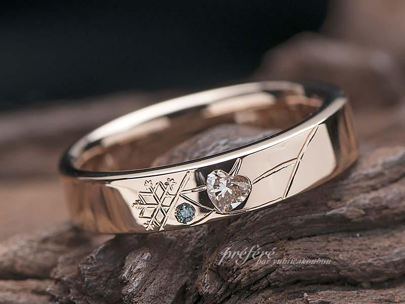婚約指輪は雪の結晶とイニシャルデザインでオーダーメイド