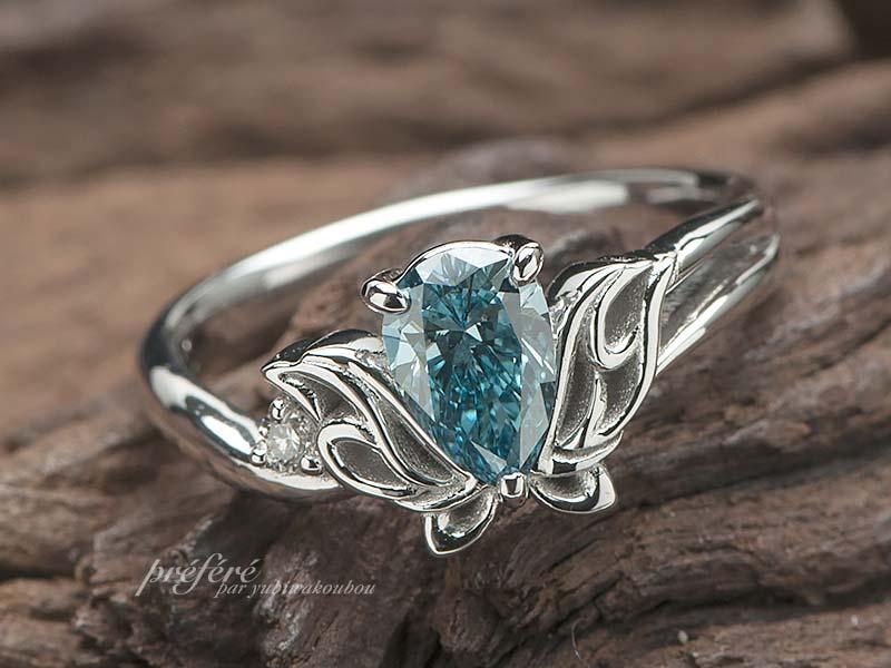 トライバル蝶モチーフの婚約指輪はオーダーでブルーダイヤで