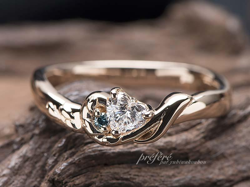 桜の花びら 音符 婚約指輪 ,ハートダイヤ 婚約指輪オーダー