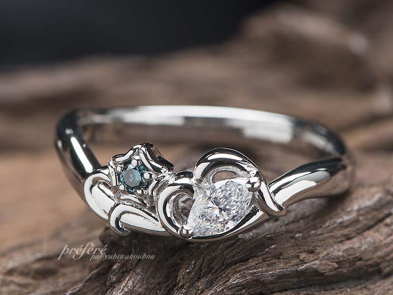 マーキスダイヤの婚約指輪オーダーはアサガオモチーフで
