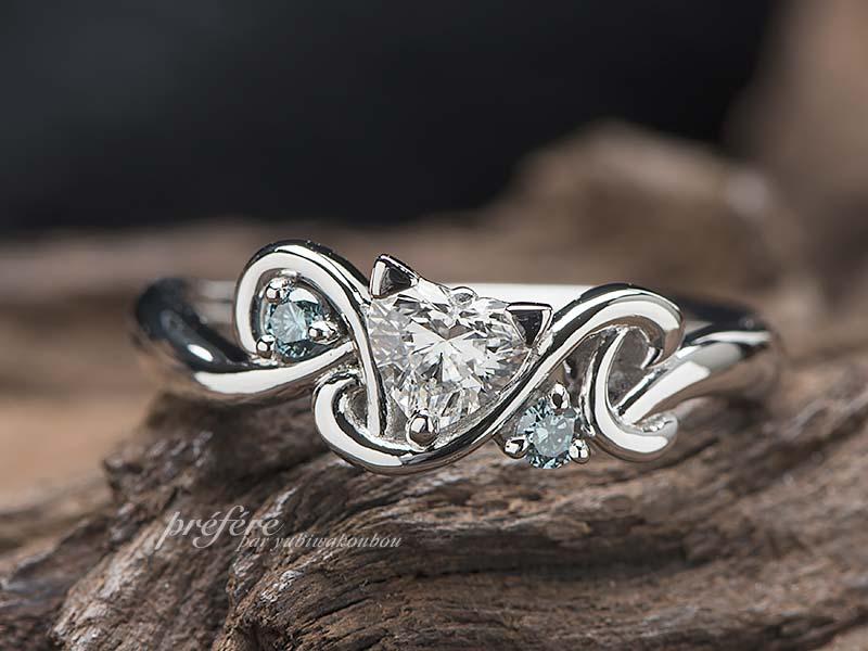 ネコとハートダイヤの婚約指輪オーダー