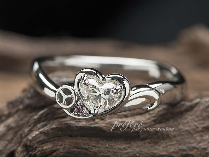 イニシャルと八幡山のマークを入れた婚約指輪をオーダー-指輪No.13004