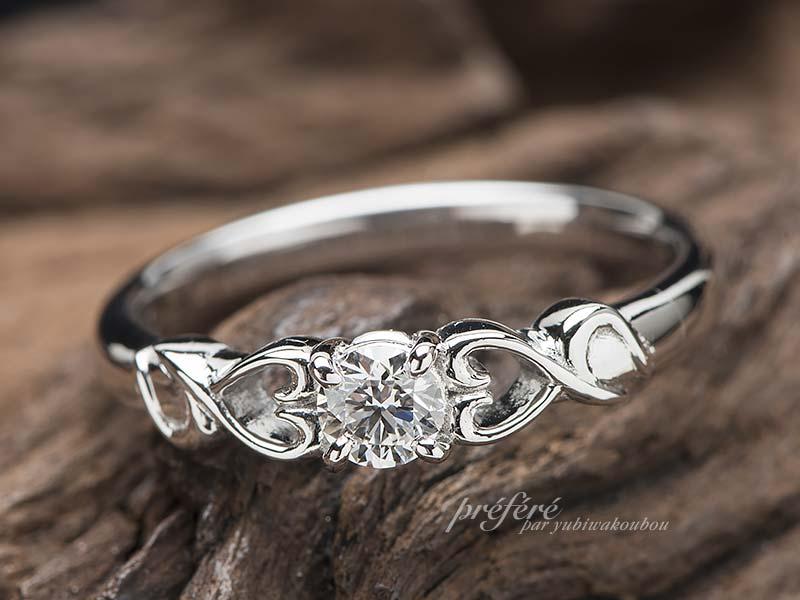 イニシヤルを入れた婚約指輪のオーダーメイド