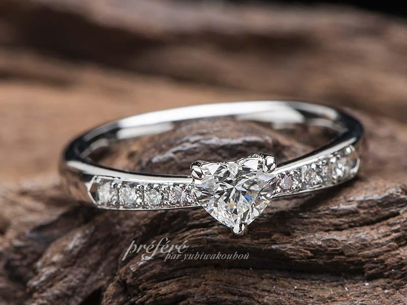 ハートダイヤとファンシーピンクダイヤの婚約指輪オーダー