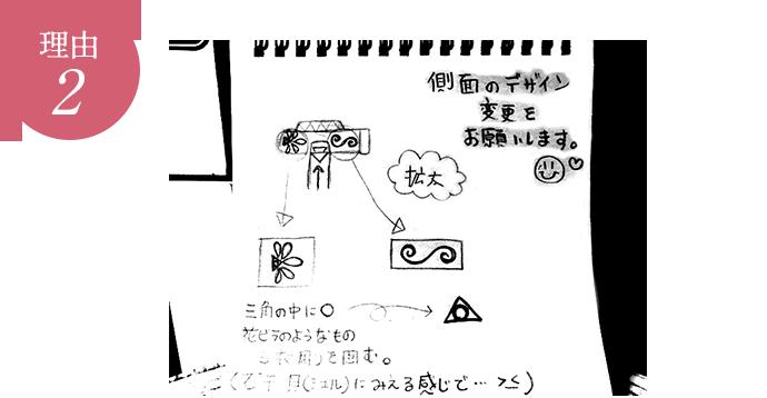 理由2 写メやLINEで手書きのデザインを送っていただきやり取りしますので、とっても簡単です。