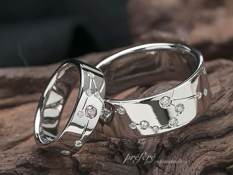 しし座とかに座の星座を入れた結婚指輪オーダー