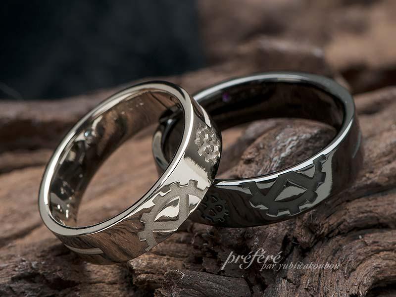 歯車、クロス(十字架)を入れた結婚指輪オーダー