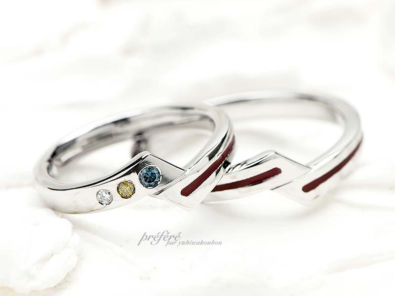 赤いライン(糸)の結婚指輪