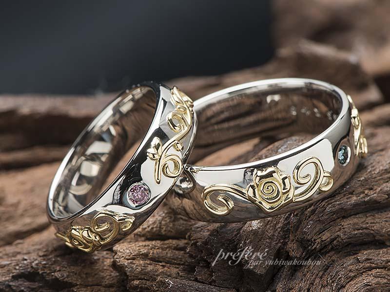 薔薇の花と蔓の結婚指輪