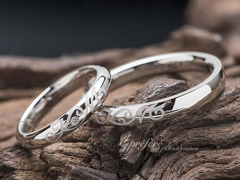 セミオーダーの結婚指輪をオリジナルにアレンジ-指輪No.13020