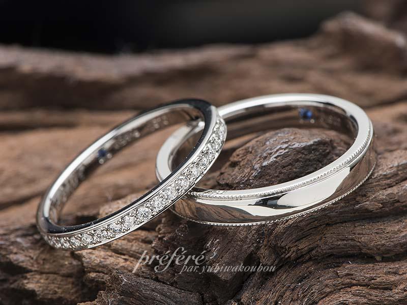 セミオーダーの結婚指輪にミルとダイヤを全周に